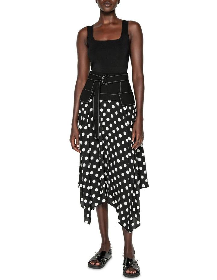 Spot Viscose Georgette Belted Midi Skirt image 1