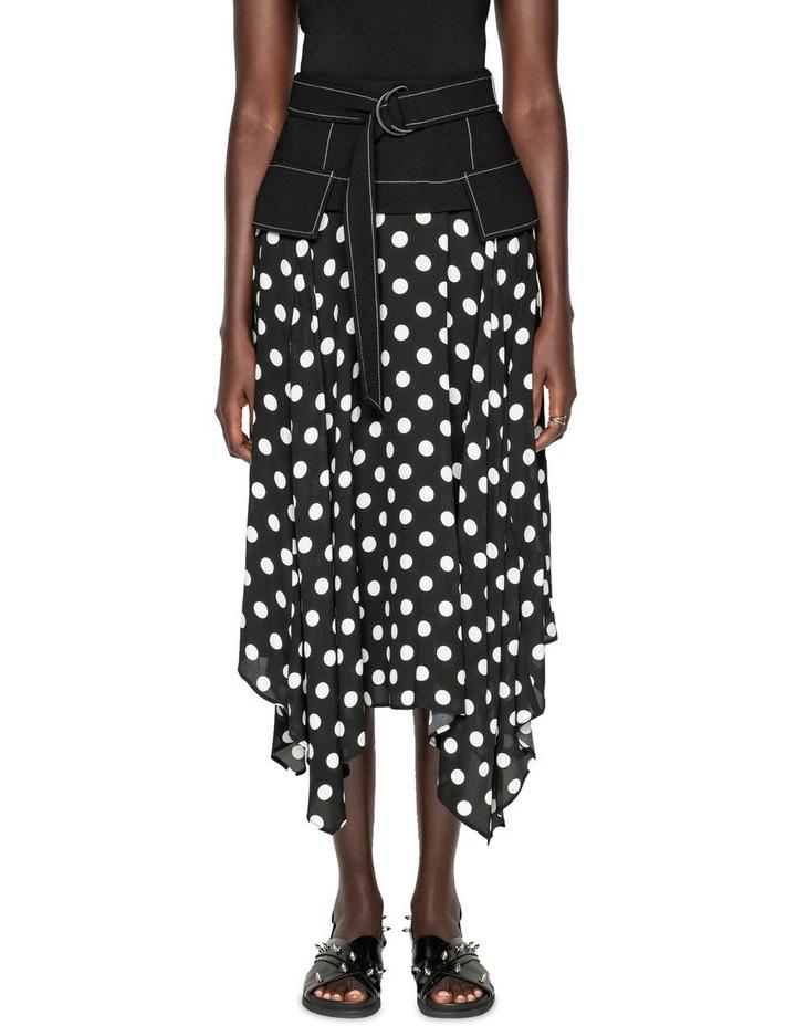 Spot Viscose Georgette Belted Midi Skirt image 2
