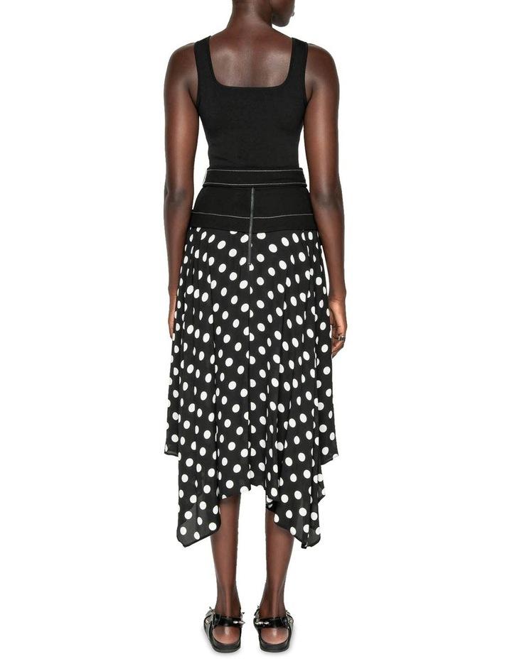 Spot Viscose Georgette Belted Midi Skirt image 3