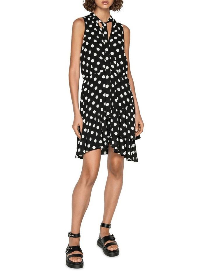 Spot Viscose Georgette Frilled Hem Dress image 1