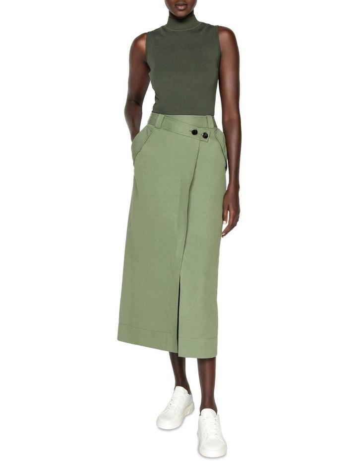 Cotton Linen Twill Midi Skirt image 1