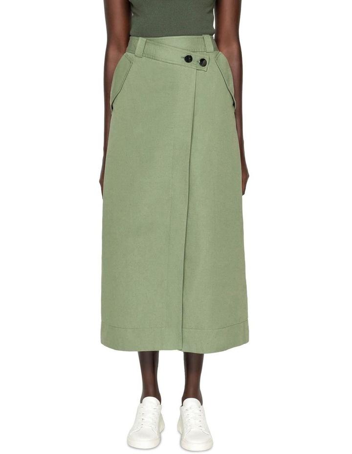 Cotton Linen Twill Midi Skirt image 2