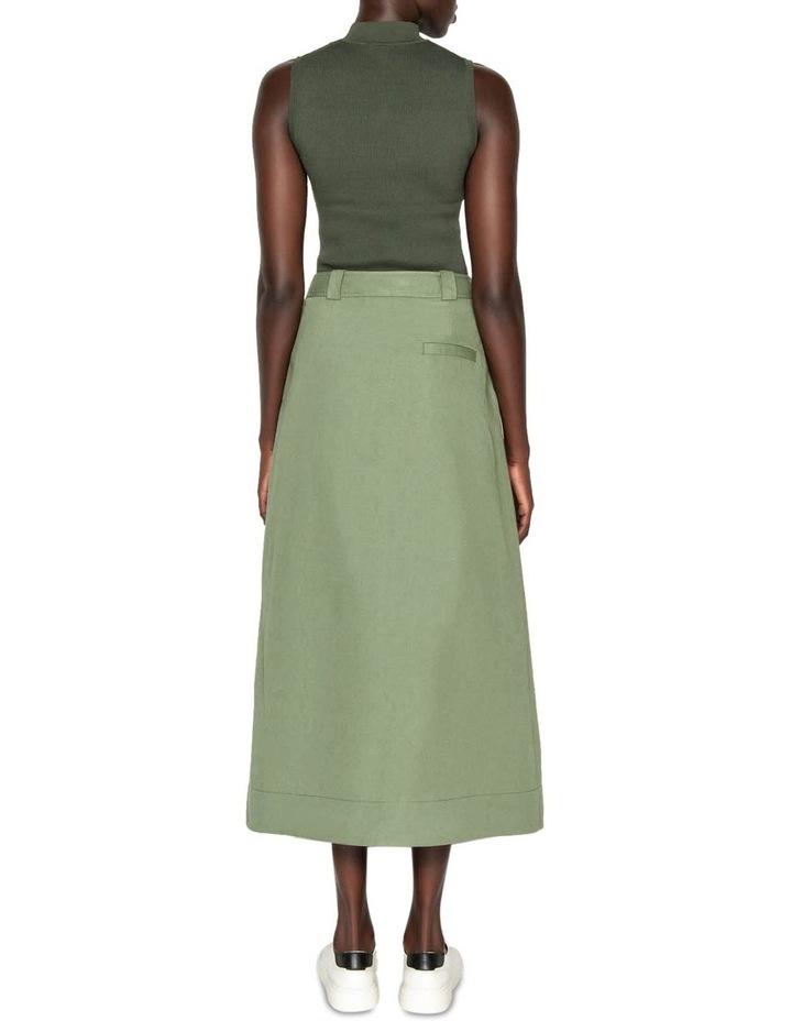 Cotton Linen Twill Midi Skirt image 3