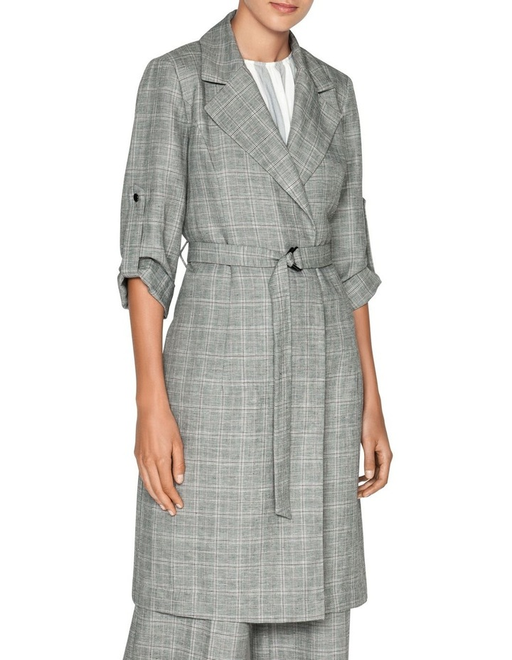 Linen Check Trench Jacket image 2
