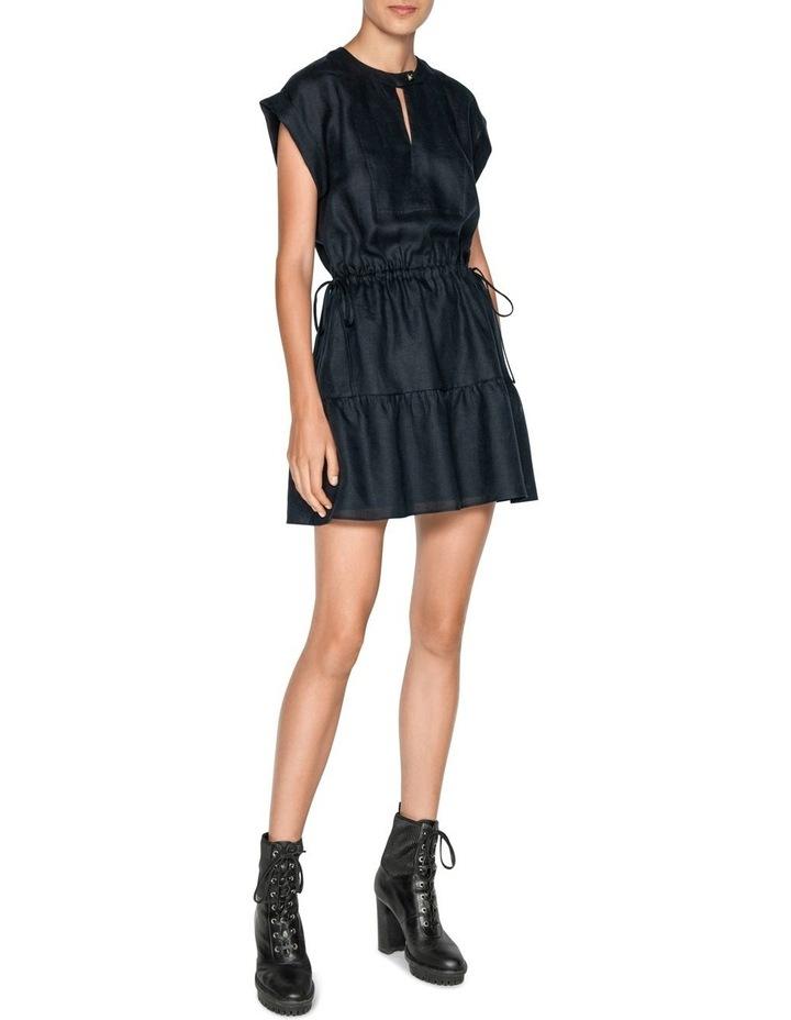 Linen Ruched Waist Trapeze Dress image 1