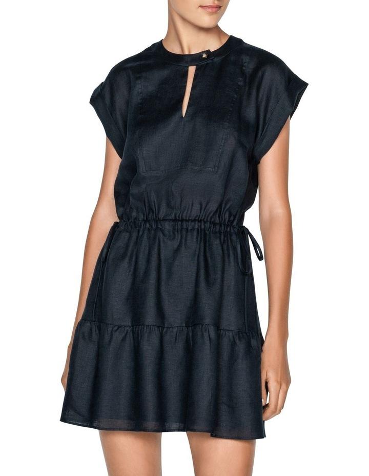 Linen Ruched Waist Trapeze Dress image 2