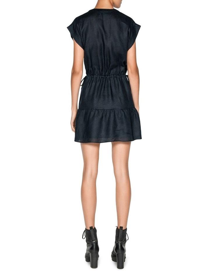 Linen Ruched Waist Trapeze Dress image 3