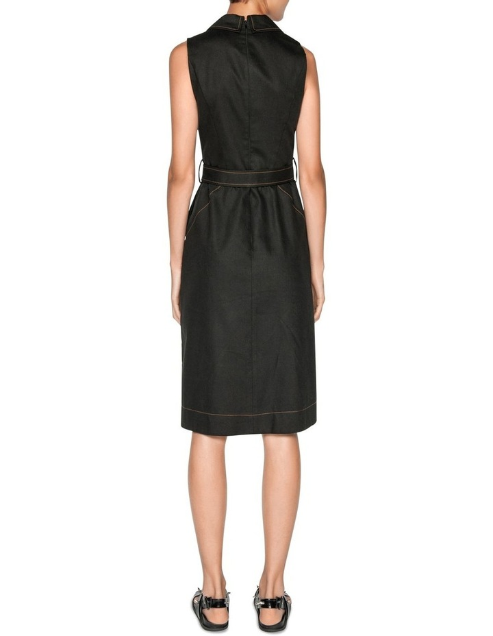 Topstitched Cotton Blend  Midi Dress image 3