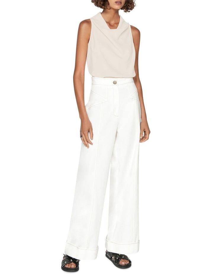 Topstitched Cotton Blend Trouser image 1