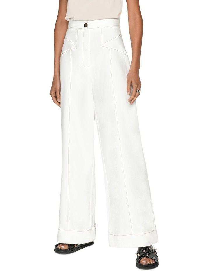 Topstitched Cotton Blend Trouser image 2