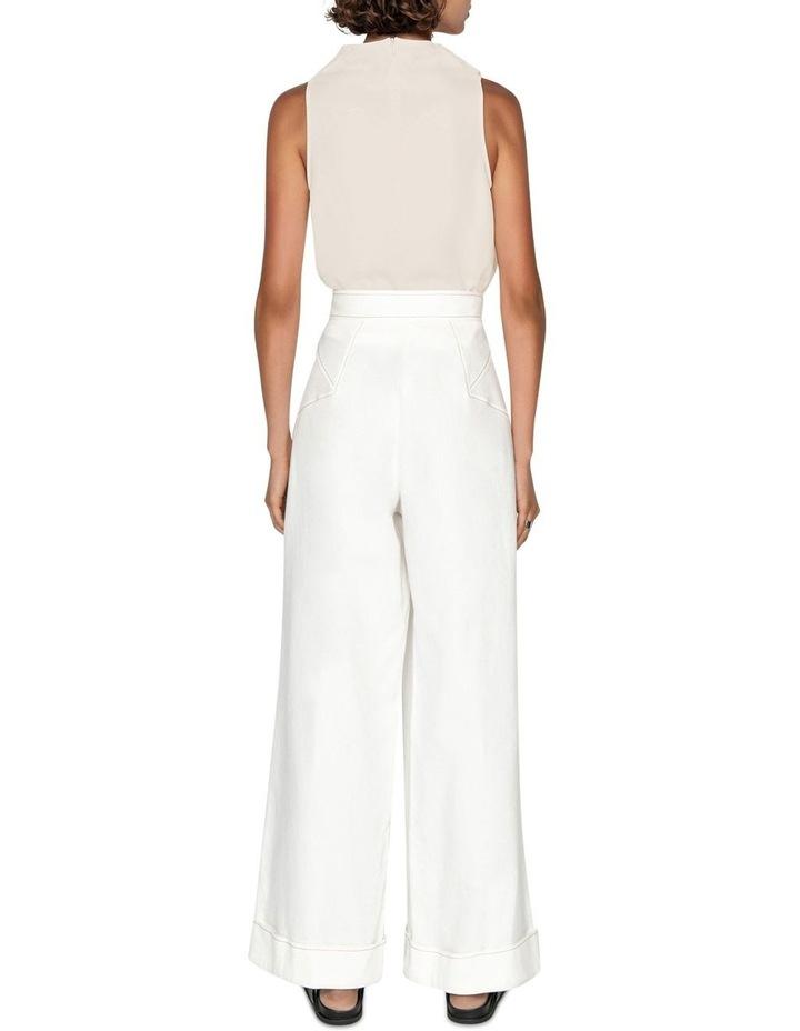 Topstitched Cotton Blend Trouser image 3