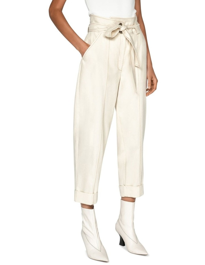 Topstitched Cotton Blend Tapered Pant image 2