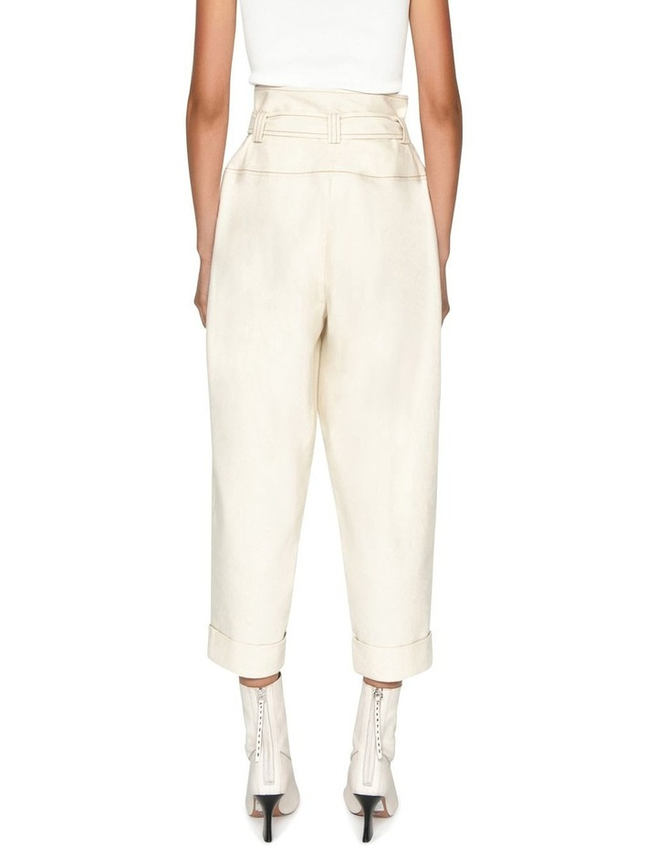 Topstitched Cotton Blend Tapered Pant image 3