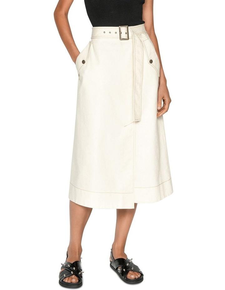 Topstitched Cotton Blend Midi Skirt image 1