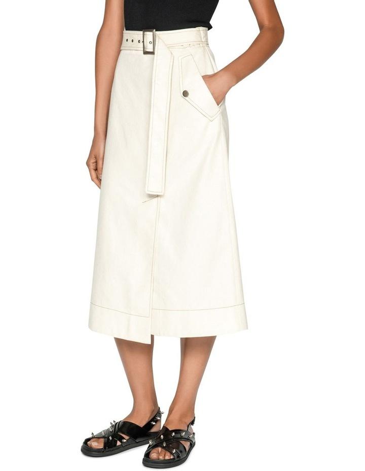 Topstitched Cotton Blend Midi Skirt image 2