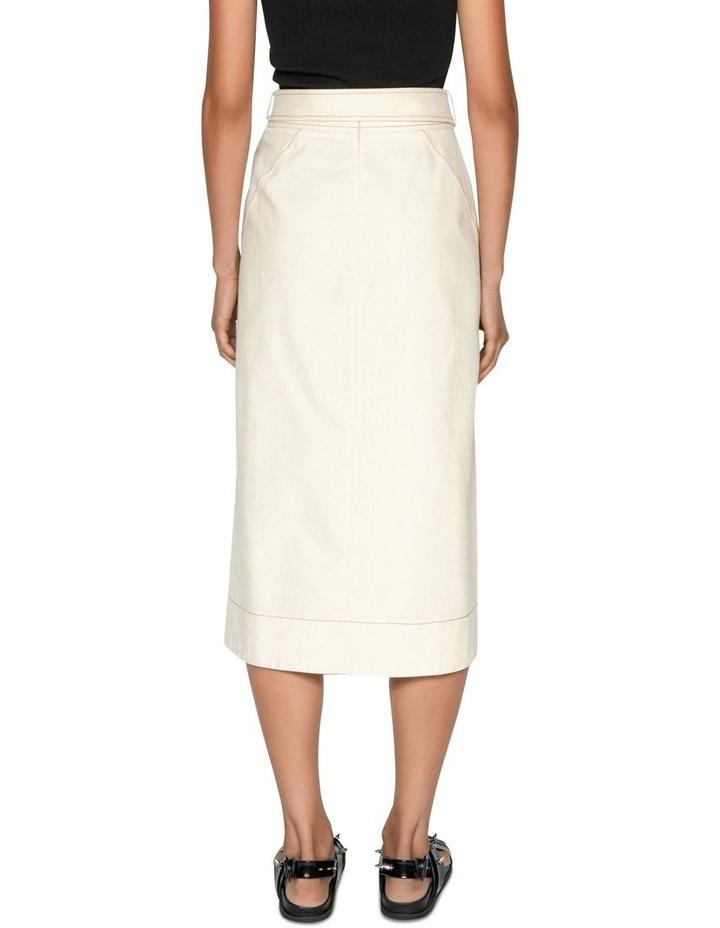 Topstitched Cotton Blend Midi Skirt image 3