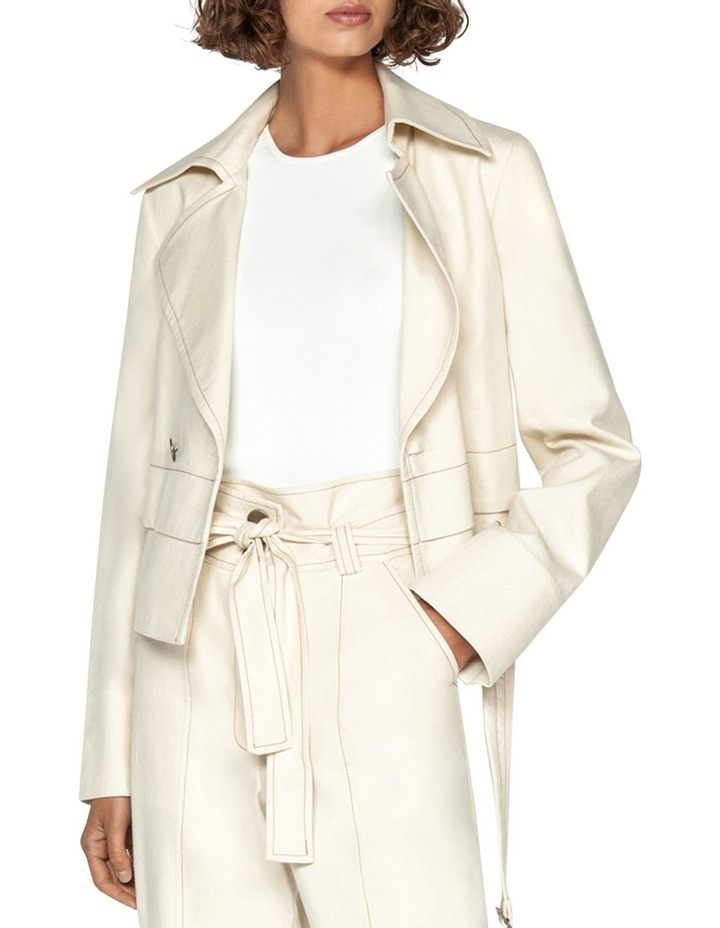 Topstitched Cotton Blend Trench Jacket image 1