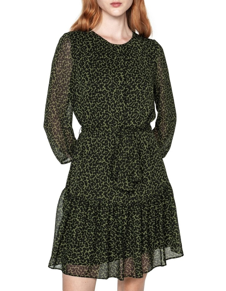 Belted Olive Animal Dress image 2