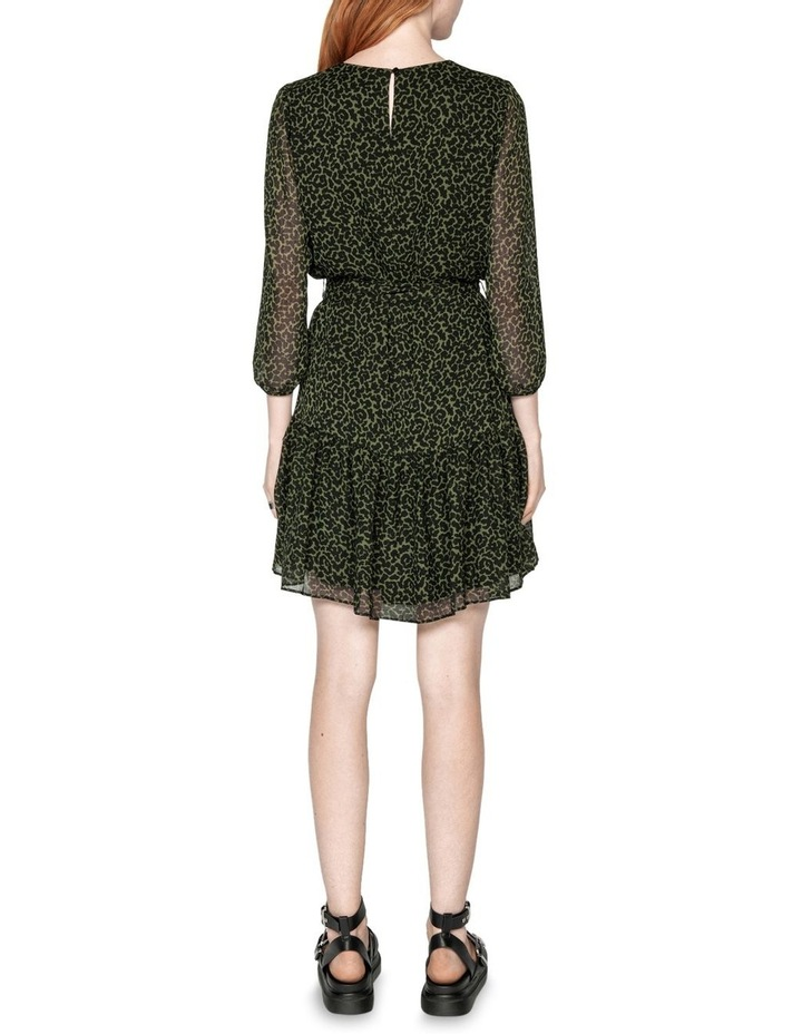 Belted Olive Animal Dress image 3