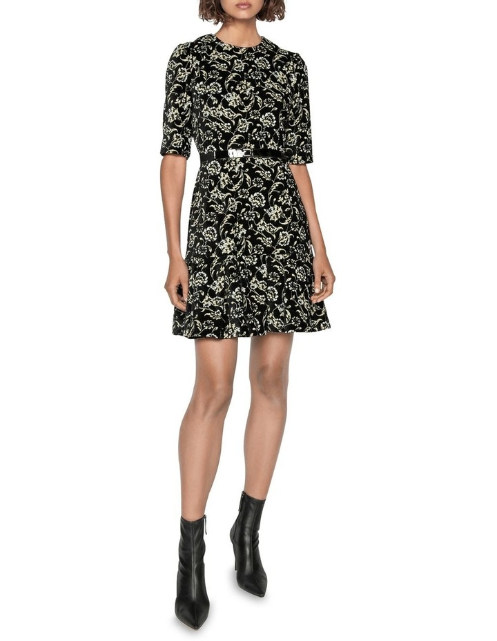 Belted Floral Chenille Dress image 1