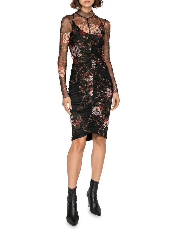 Rose Mesh Ruched Dress image 1