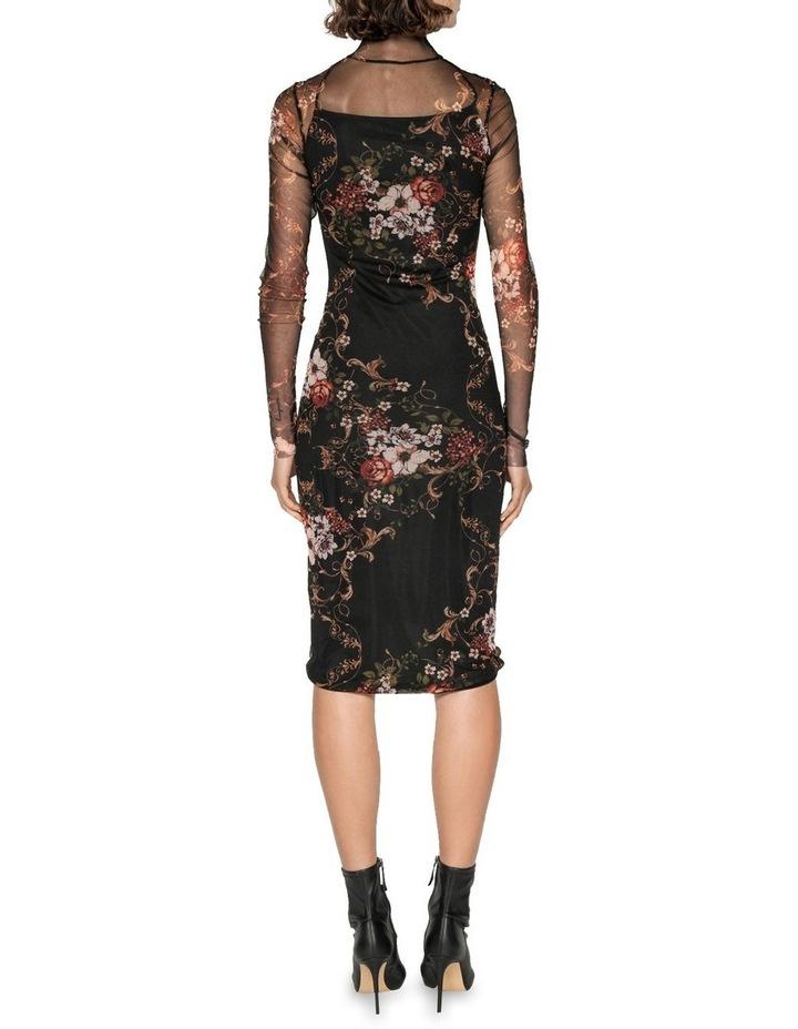 Rose Mesh Ruched Dress image 3