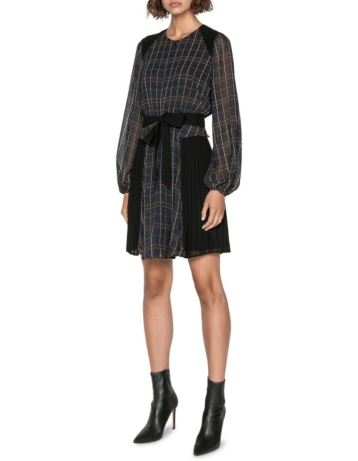 Sheer Georgette Check Pleated Dress image 1