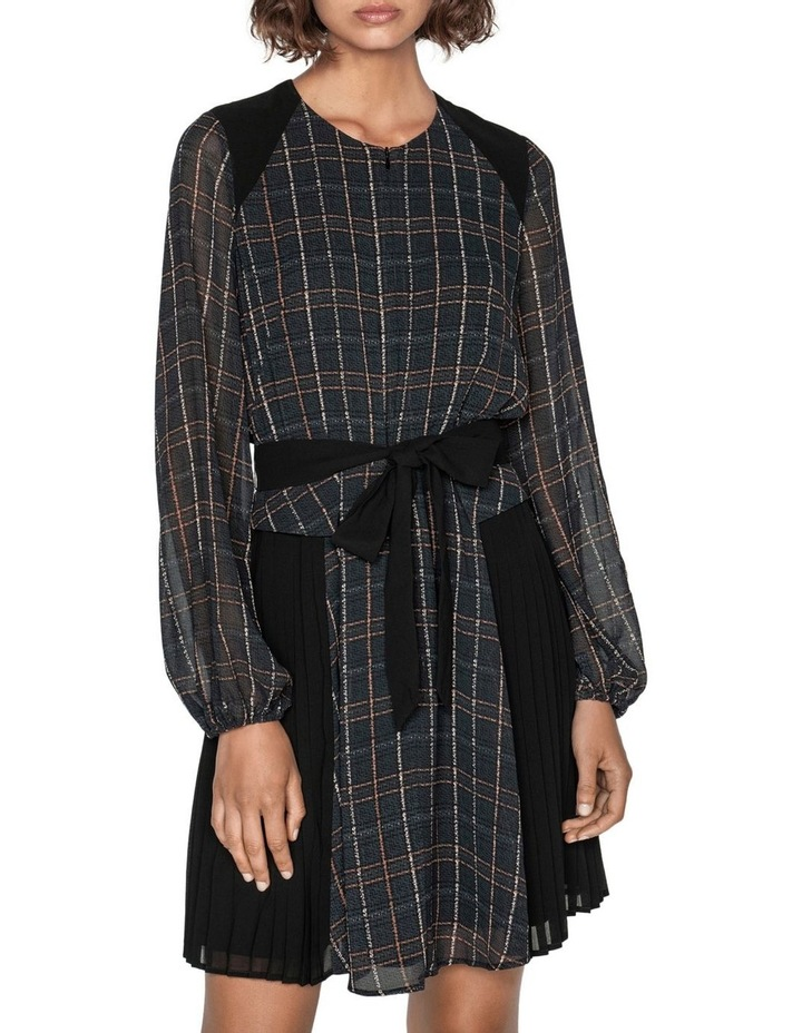 Sheer Georgette Check Pleated Dress image 3