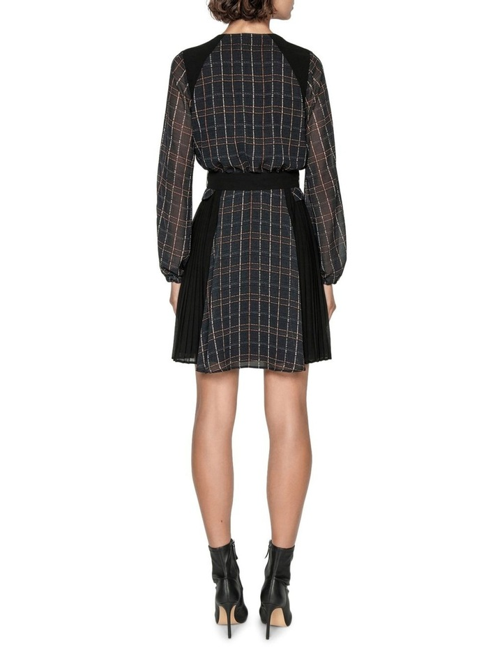 Sheer Georgette Check Pleated Dress image 4