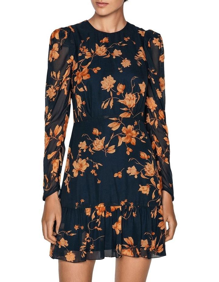 Golden Floral Frilled Hem Dress image 2