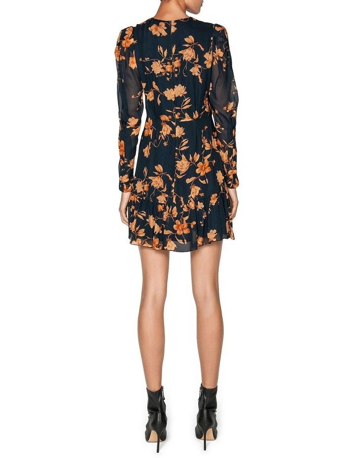 Golden Floral Frilled Hem Dress image 3