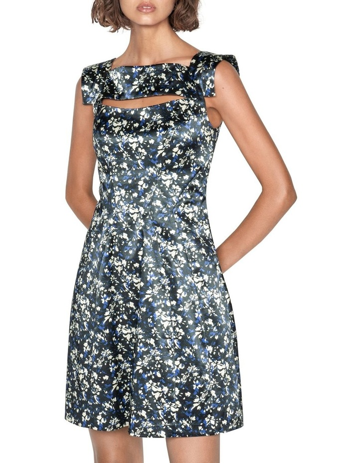 Abstract Floral Satin Dress image 1