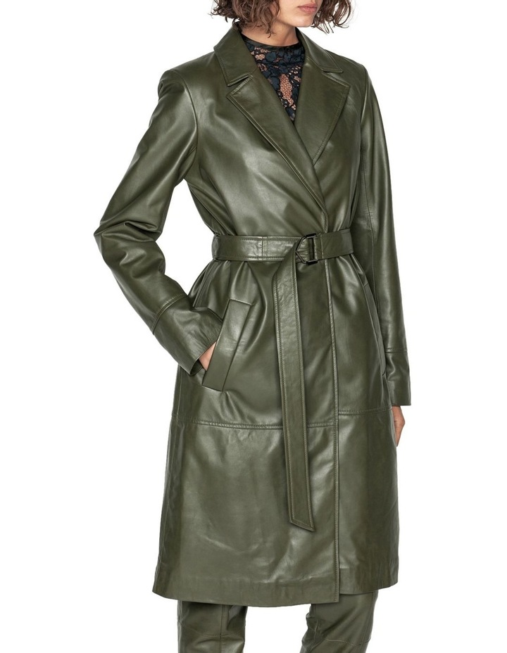 Khaki Leather Trench image 2