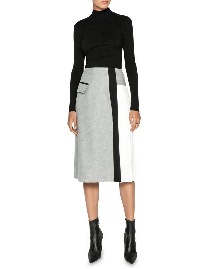 Grey Melange Pleated Midi Skirt image 1