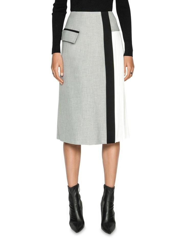 Grey Melange Pleated Midi Skirt image 2