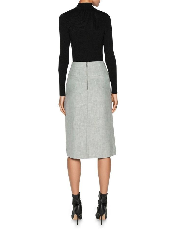 Grey Melange Pleated Midi Skirt image 3