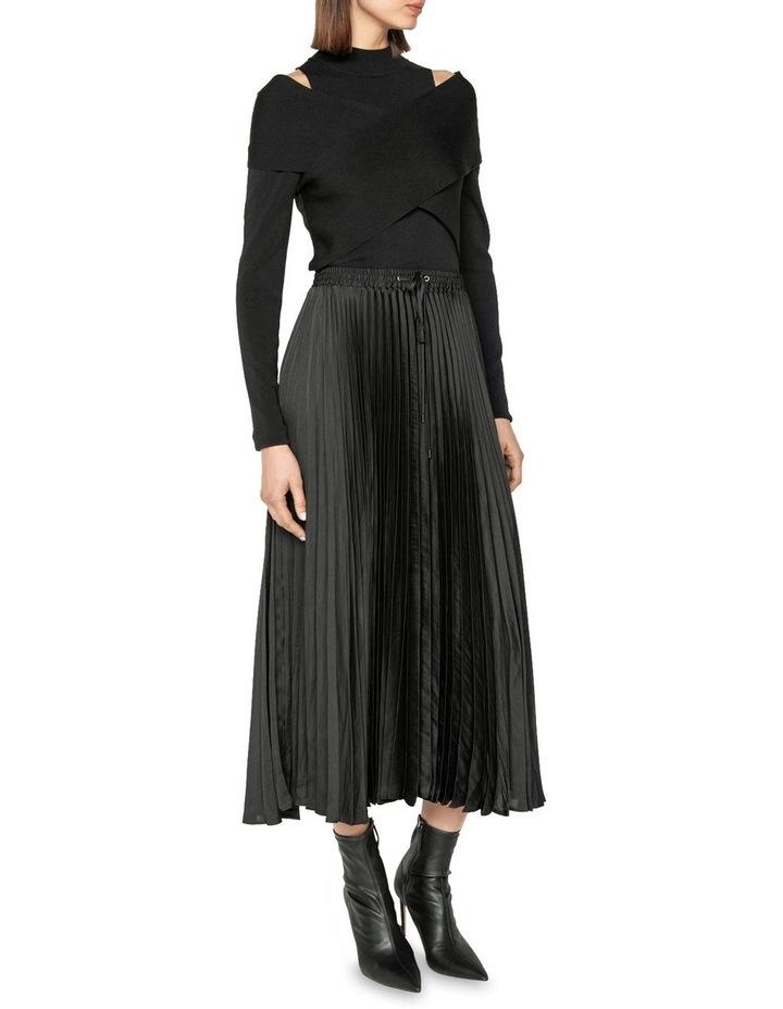 Satin Pleat Midi Skirt image 1