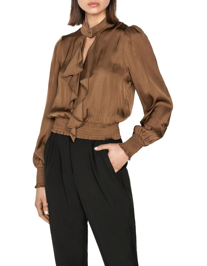 Satin Cropped Frilled Blouse image 2