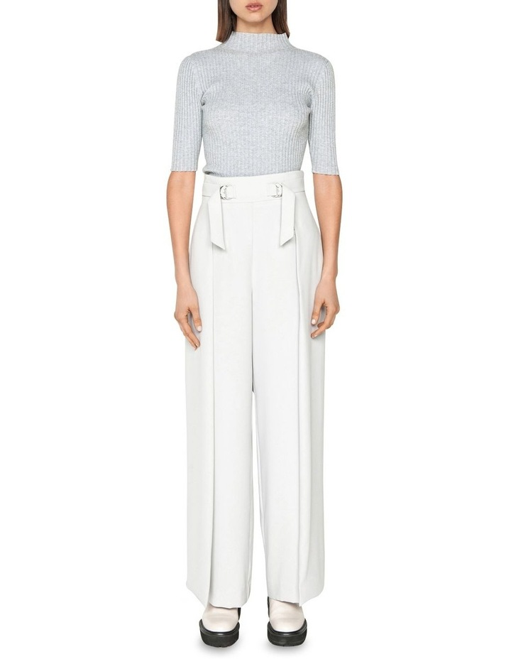 Ribbed Elbow Sleeve Funnel Neck Knit image 1