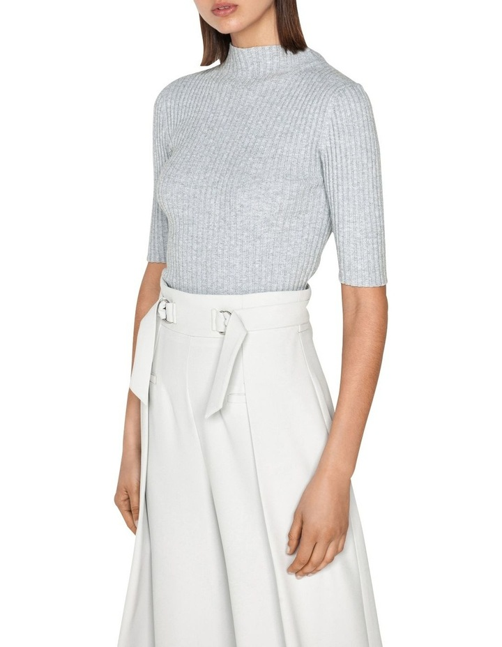 Ribbed Elbow Sleeve Funnel Neck Knit image 2