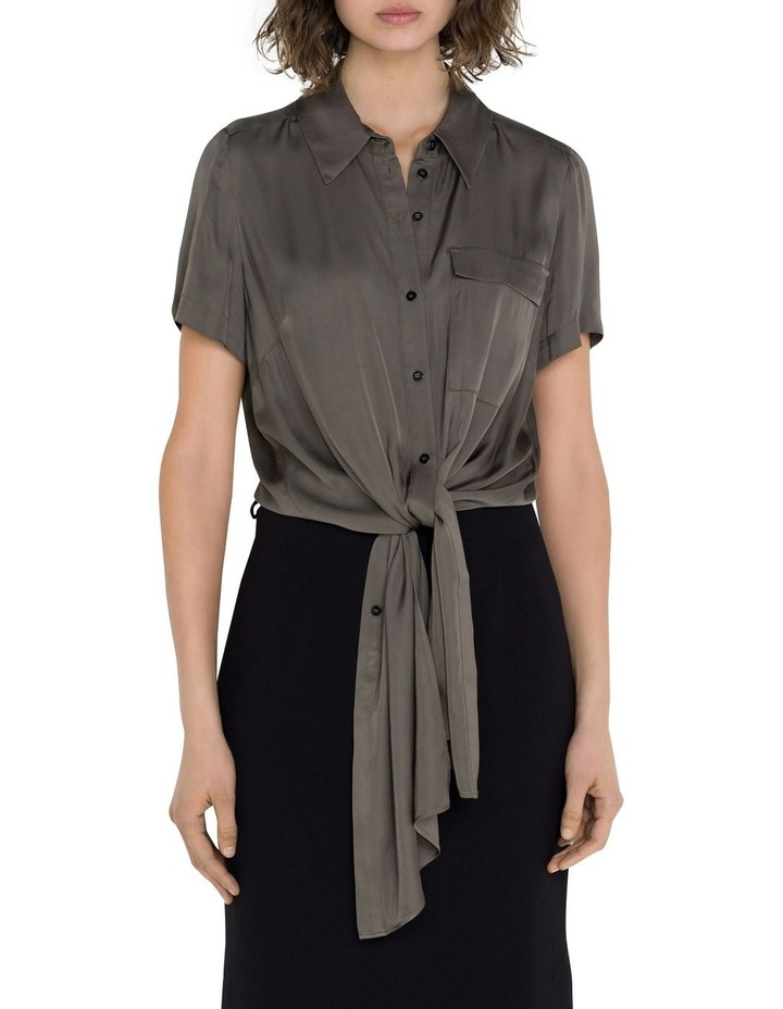 Satin Tie Front Shirt image 2