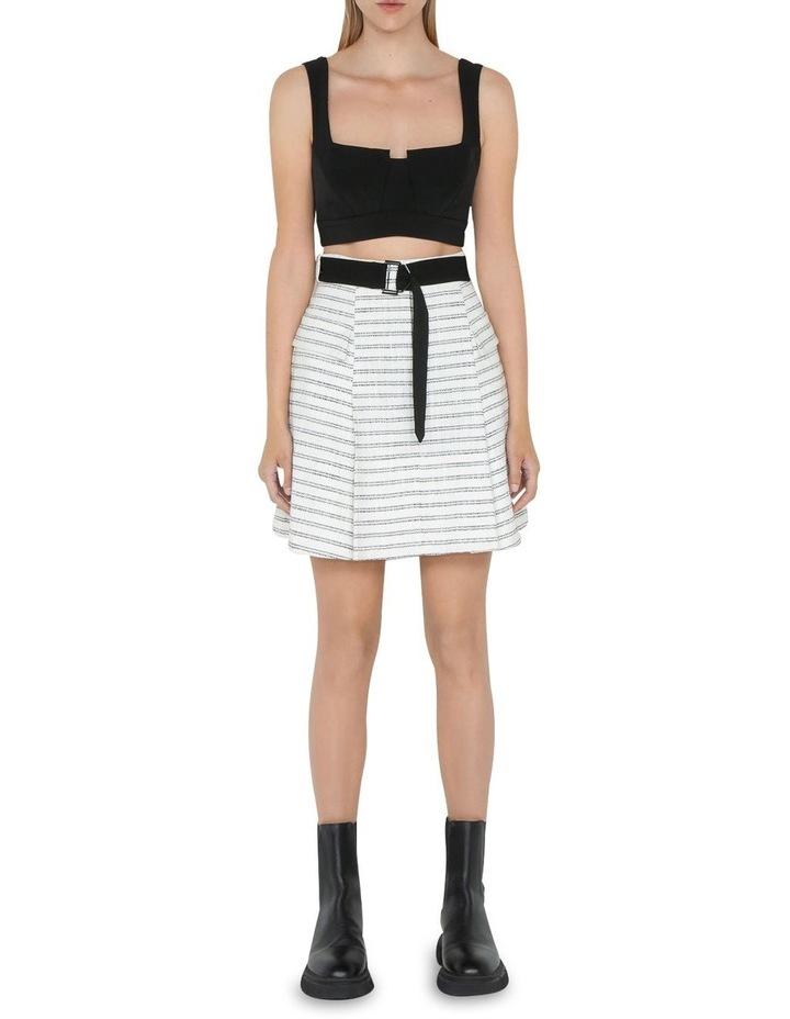 Stripe Tweed Belted Mini Skirt image 1