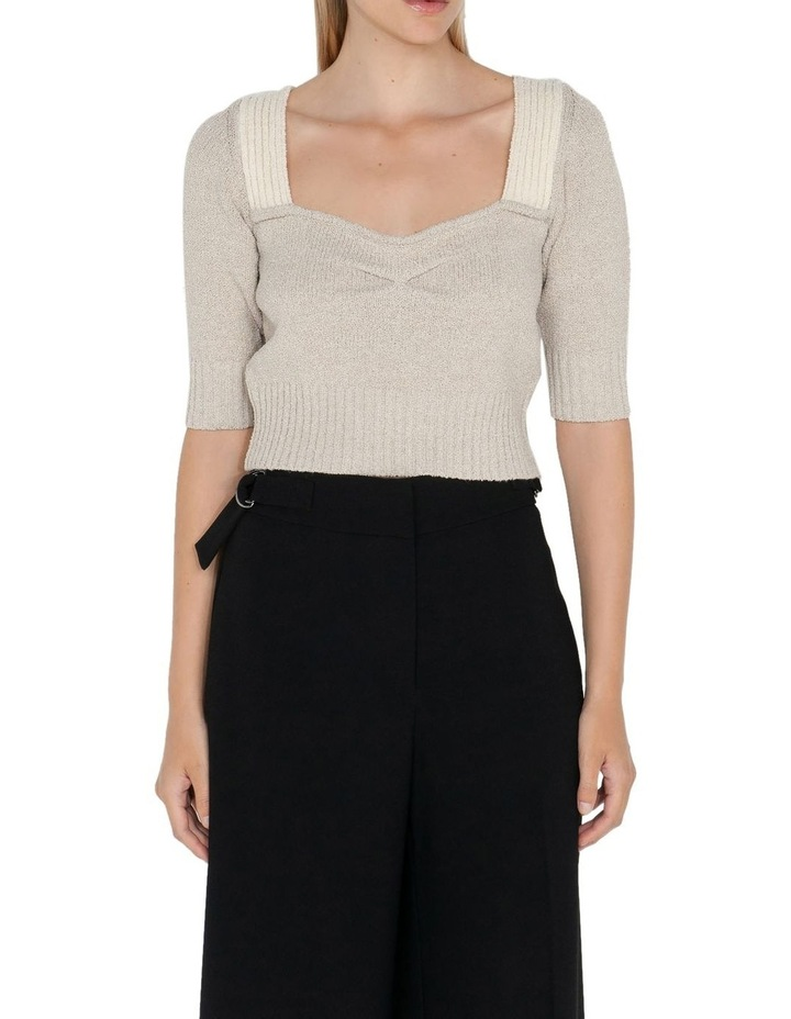 Cropped Square Neck Boucle Knit image 2