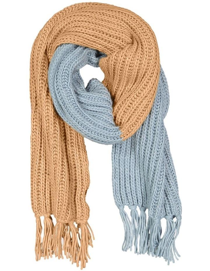 Collide Rib Knit Blue/ Tan Scarf image 1