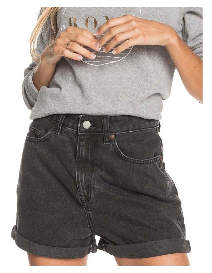 Womens Here Its Me Black Mom Fit Denim Short image 1