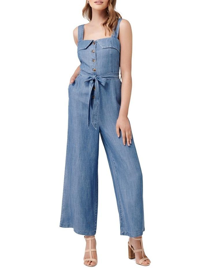 Renee Button Front Denim Jumpsuit image 1