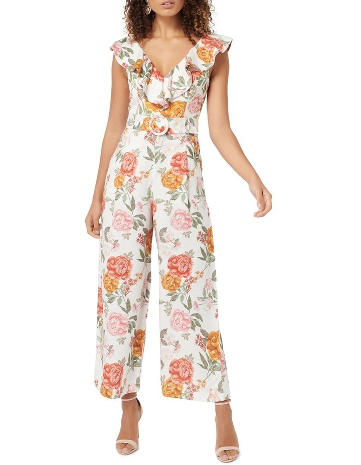 Sage Petite Belted Linen Culotte Jumpsuit image 1