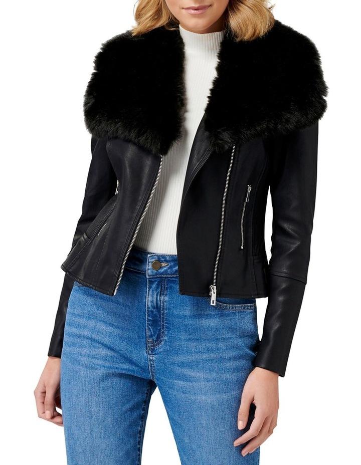 Tessa Pu Fur Collar Biker Jacket image 1