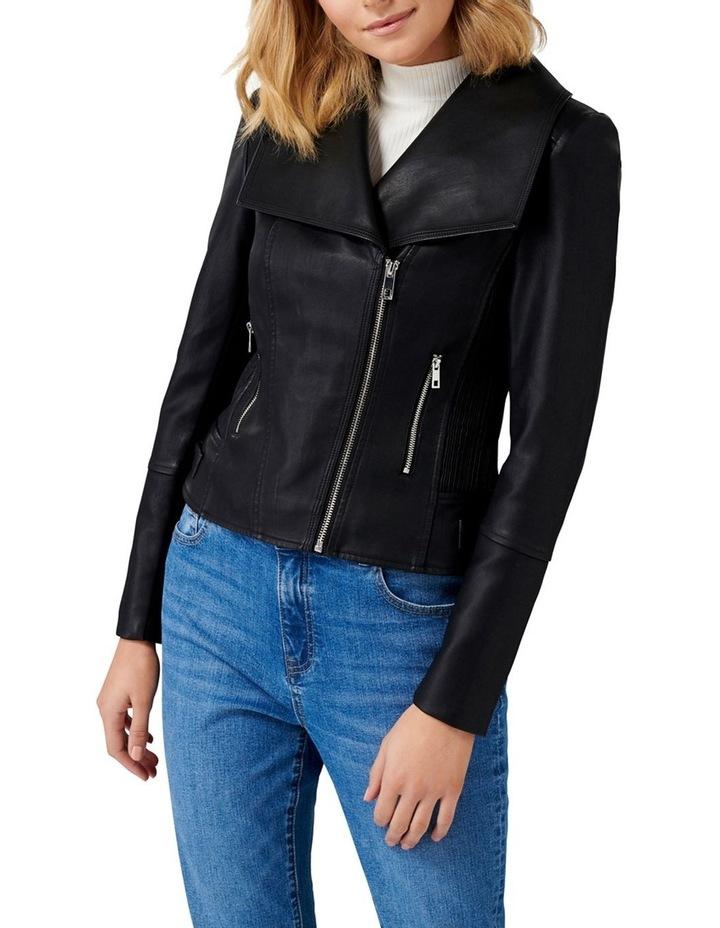 Tessa Pu Fur Collar Biker Jacket image 2