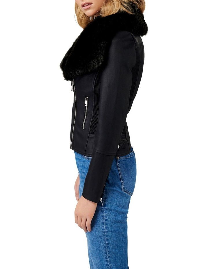 Tessa Pu Fur Collar Biker Jacket image 3